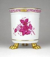 1D630 Régi Apponyi mintás oroszlánlábas Herendi porcelán kaspó 10 cm
