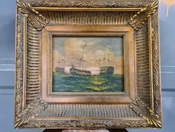 Hajók a tengeren festmény-kis méretű