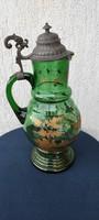 Ón kancsó,Csodàlatos zöld üveg Huta,fúvott kancsó,köszörült madaras járatra,csodàlatos, Luxus