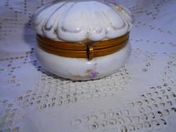 Antik  réz szerelékkel porcelán doboz-bonbonier