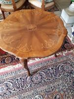 Antik barok intarziás kerek asztal 80x62 cm magas