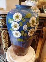 Hatalmas Badár Balázs kerámia váza 1929-ből.Kézzel festett virágok a disze. RITKA! F-24