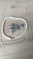 Régi ezüst ékszerek , igazgyöngy nyaklánc