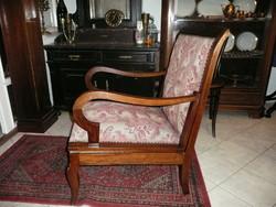 KURIÓZUM! Antik Art Deco ággyá alakítható fotel/fotelágy/szófa eredeti szép szövettel, nagyon stabil