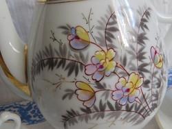 Antik fehér, virágos porcelán kávés kanna