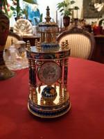 Francia tűzzománcozott 23x15cm asztali és csörgő réz mechanikus óra