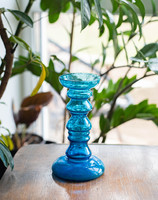 Ingridgläser gyertyatartó - retro kék üveg gyertyatartó vagy váza - midcentury modern design