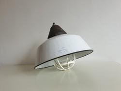 Régi retro zománcozott nagy méretű zománc Szarvasi mennyezeti ipari industrial fémbúrás lámpa loft