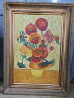 Váza napraforgókkal -virág csendélet festmény