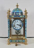 Francia rekeszzománc kandalló óra