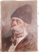 Jenő Kasznár ring: old man smoking a pipe