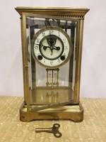 Feles ütős Brocot szerkezetes réz asztali óra