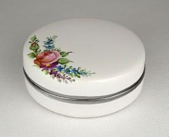 1D634 Virágdíszes fehér mázas kerámia ékszertartó bonbonier 8.5 cm
