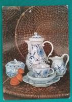 3 db, Meisseni porcelán készlet,kávés,tálaló,,DDR,postatiszta  képeslap
