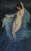 Vénusz születése a habokból, olajfestmény