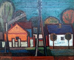 Józsa János Derecskei utca 1965-ös olaj festménye