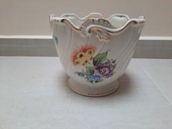 Nagyméretű Herendi virágmintás porcelán kaspó