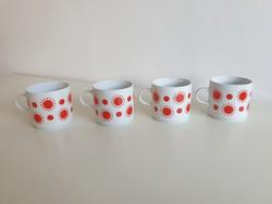 Retro régi 4 db Alföldi porcelán bögre piros mintás teás csésze