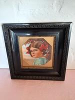 Régi festett kislány portré