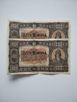 """Sorszámkövető, """"Pénzjegynyomda"""" egyszer hajtott 1000 korona 1923"""