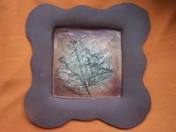 Szemereki Teréz: Kerámia falikép  28 x 28 cm. Jelzett, hibátlan