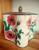 Régi teás fémdoboz (virágos)