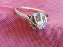 Antik brilliáns drágaköves platina gyűrű