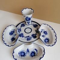 5 részes porcelán kínáló kék virágdekorral