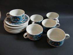 Vintage Villeroy & Boch Izmir porcelán 6 személyes kávés, teáskészlet