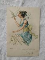 Szecessziós, litho/litográfiás képeslap/üdvözlőlap hölgy kék ruhában, fehér galamb 1900 körüli