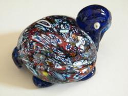 Muranoi millefiori üveg teknős figura