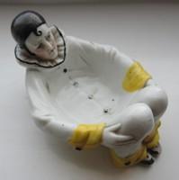 Harlekin bohóc - antik Sitzendorfi porcelán tál