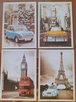 Régi stílusú 4 db képeslap vintage autó fotó