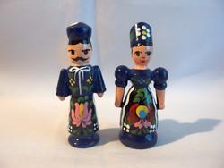 Kézzel Kalocsai mintával festett fa bábu páros kék 8,5 cm magas