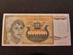 Jugoszláv 100000 Dínár