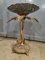 Lajos stílusú bronz és porcelán gyümölcstál -asztalközép-kínáló
