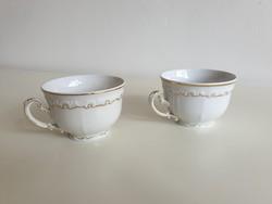 Régi Zsolnay porcelán vintage fehér kávés csésze 2 db