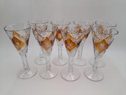 Pálinkás vagy likőrös talpas kristály pohár 8 db