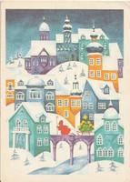 """Retro képeslap - """"Kellemes karácsonyi ünnepeket"""" B. Lasetzky Stella rajzával"""