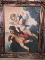 Antik puttós életkép olaj festmény