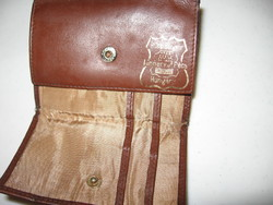 Retro PÉCSI BŐRGYÁR kétoldalt nyitható barna bőr pénztárca