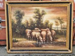 Birkák az itatónál- olaj vászon festmény