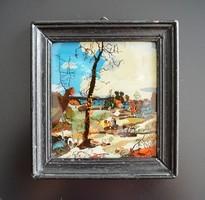 Üvegre festett kis kép