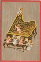 Kanadai karácsonyi képeslap zongorázó angyalkákkal