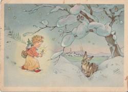 Német karácsonyi képeslap Charlotte Baron RAA rajzával