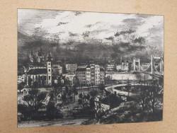 ERZSÉBET HÍD A BUDAI OLDALRÓL (40x50 cm tusrajz) Budapest belváros templom utcakep városkép panoráma