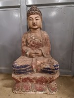 Antik buddha lótusz virágon faszobor