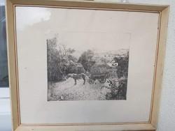 DUDÁS JENŐ: Tihanyi délután (24x29 cm rézkarc) panoráma, Balaton, tájkép, hegyel