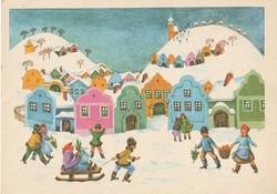 Retro képeslap - Karácsonyi üdvözlet  B. Lazetzky Stella rajzával