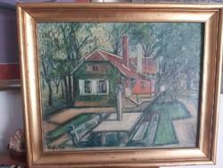 VÍGH: Padok a ház előtt, 1948 (olaj, vászon 40x50 cm) XX. század közepe utcakép, város falu ermészet